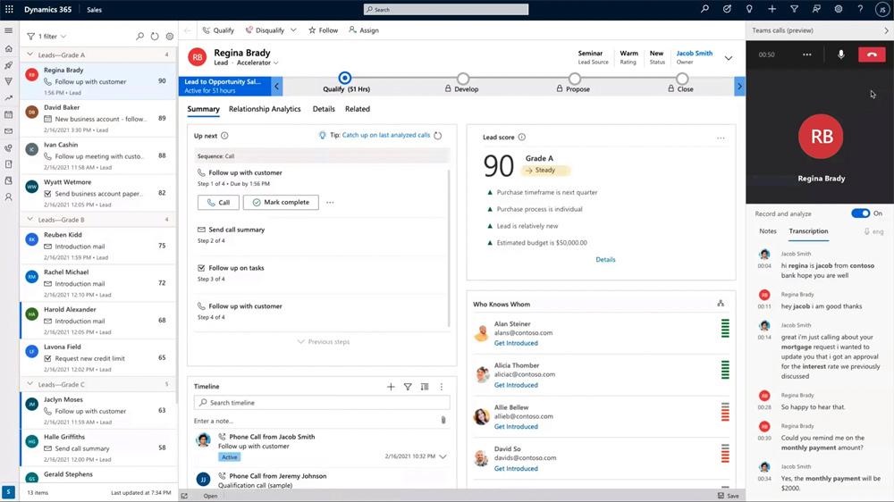 Screenshot Teams embedded calling Dynamics 365 Sales