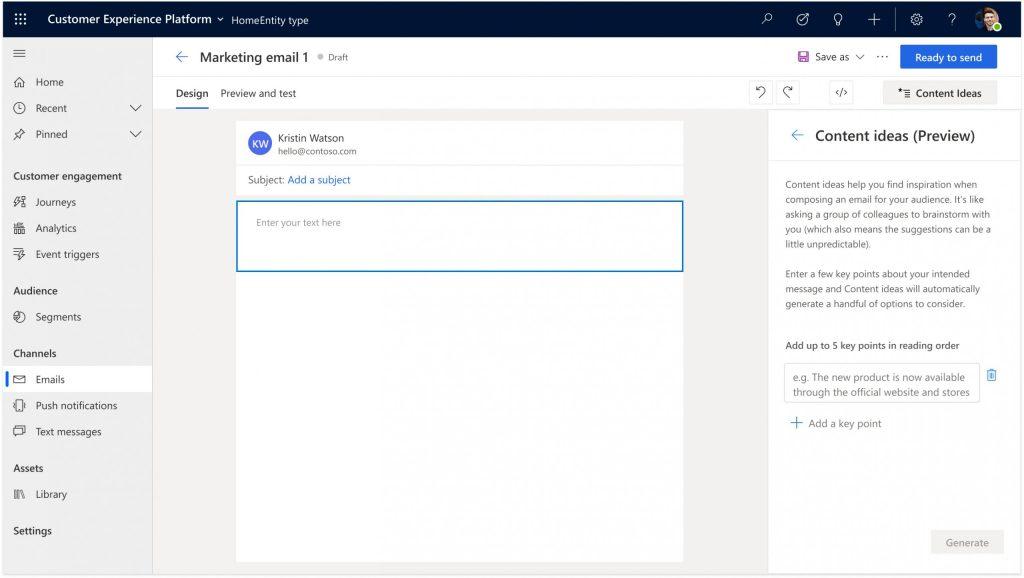 Dynamics 365 Marketing screenshot content ideas email editor
