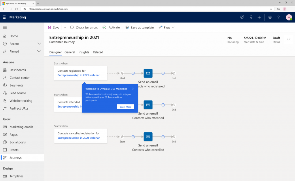 Dynamics 365 Marketing screenshot teams webinar connected