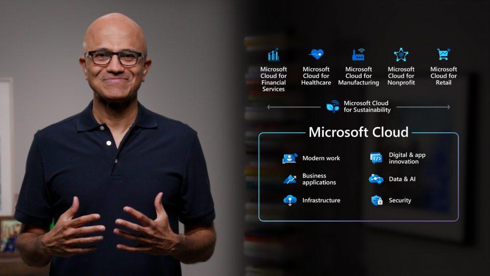 Microsoft Inspire 2021 Satya Nadella speaking about Microsoft Cloud