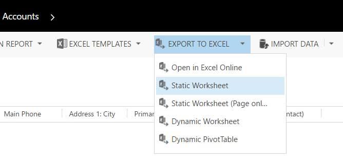 Screenshot Dynamics 365 Export to Excel