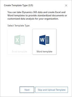 Screenshot Dynamics 365 select template type create template