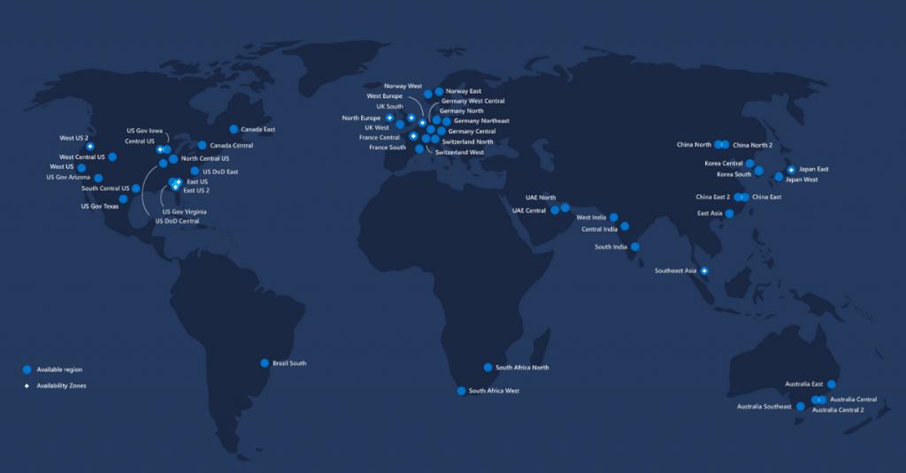 Microsoft Azure Datacenters overzicht